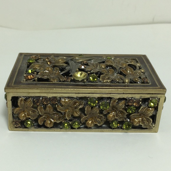 Trinket Box Jewelry Box Enameled Metal Rhinestone